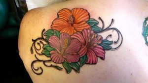 Hibiscus with Scrollwork