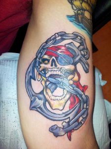 Sailor Skull Biting the Anchor Chain